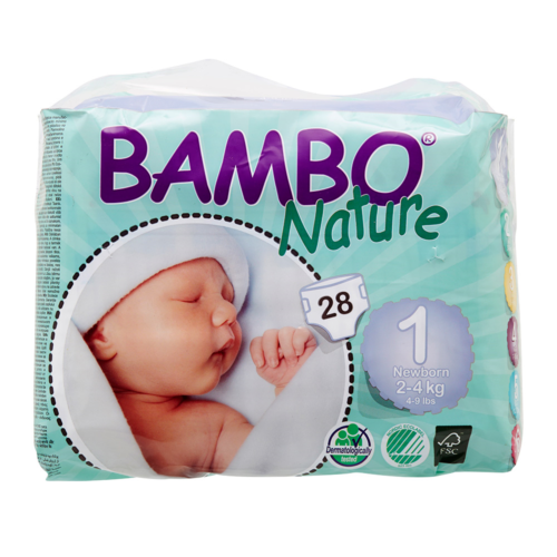 Bambo Nature Eco Disposable Nappies Size 1: 2-4 kg's 28's (newborn)